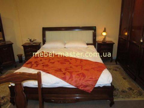 Недорогая деревянная кровать с кожаным изголовьем Вивере, Мобекс