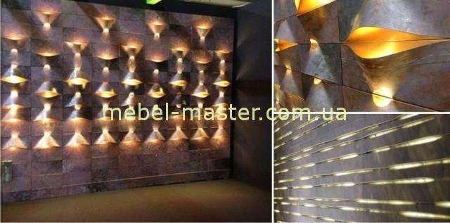 Резная панель для баров и ресторанов из массива натурального дерева со светодиодной подсветкой