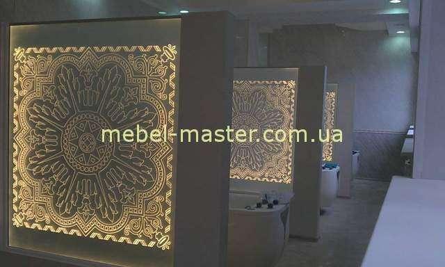 Декоративная резная панель-перегородка для ресторана в восточном стиле
