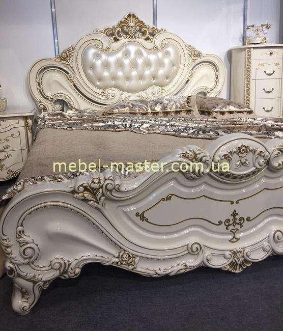 Кровать классическая с мягким изголовьем Элиза в стиле барокко, Слониммебель