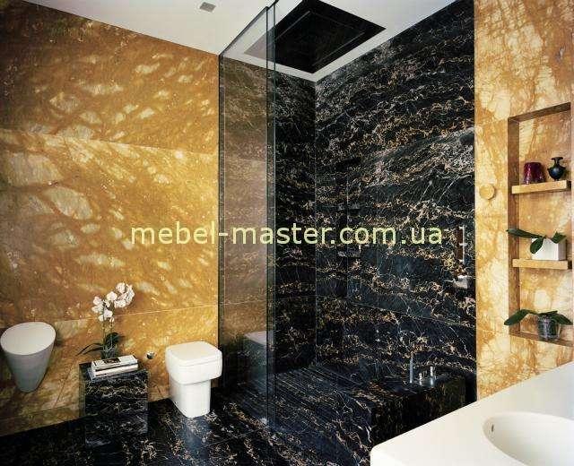 Отделка ванной стеновыми панелями из натурального или искусственного камня