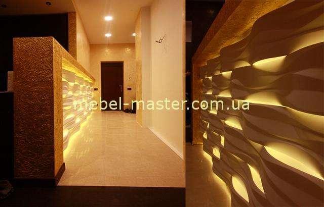 Отделка коридоров фигурными стеновыми панелями с подсветкой