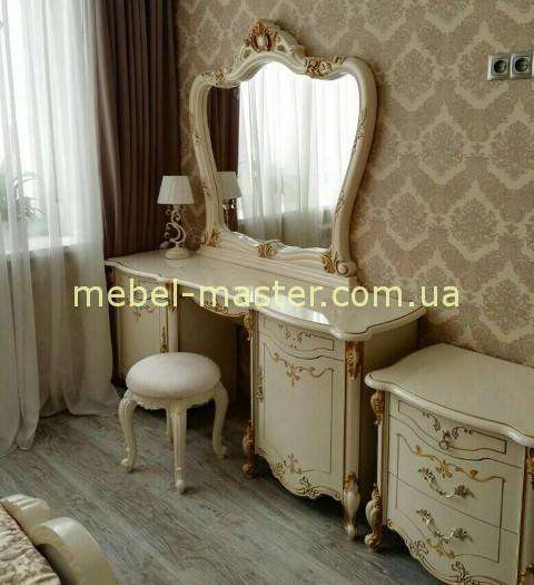 Белый туалетный стол Элиза в стиле барокко, Слониммебель
