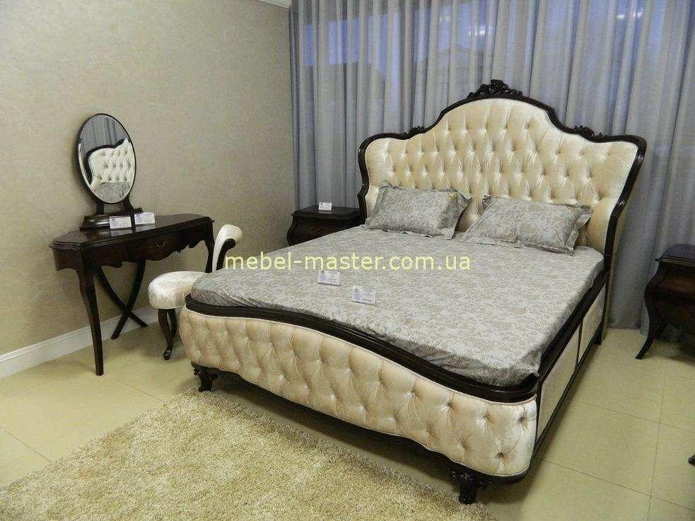 Ореховая кровать с мягким изголовьем Грация, Энигма
