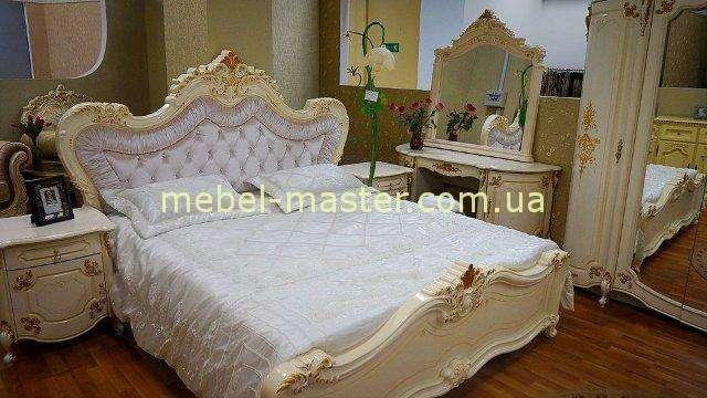 Белая кровать Элиана с мягким изголовьем и золотом, Слониммебель, Беларусия