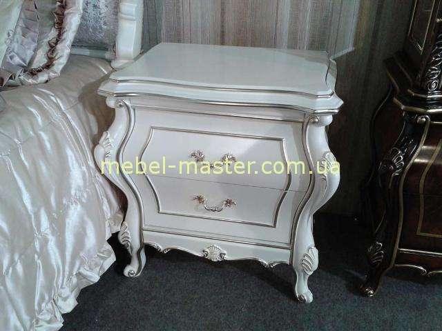 Тумбочка прикроватная Версаль в стиле барокко, Патина серебро