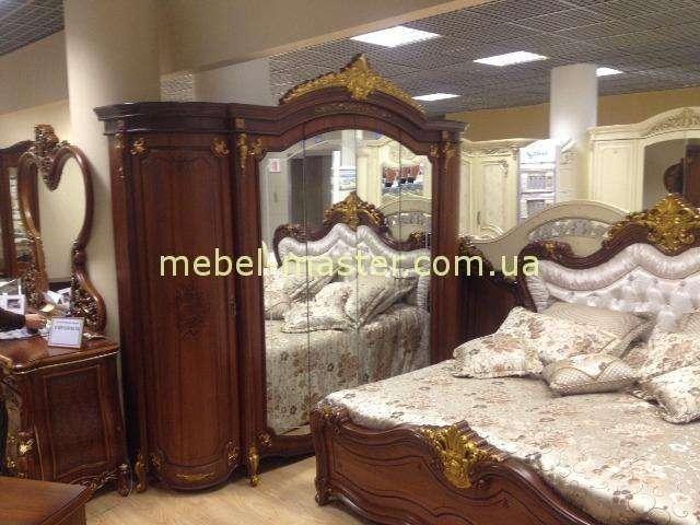 Классический резной шкаф Элиана с золотой патиной, Слоним мебель