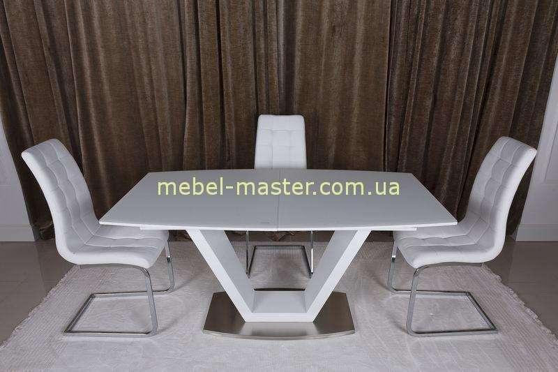 Белый прямоугольный стол со стеклянной столешницей Детройт, Николас