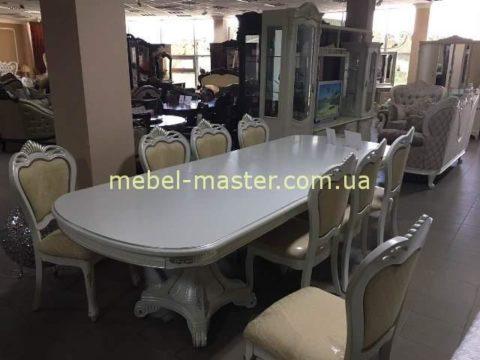 Красивый классический белый стол на двух ногах Р 22, Малайзия