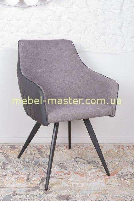 Серый комбинированный стул Мая из ткани и экокожи, Николас