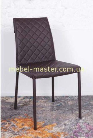 Коричневый стул из экокожи Дрезден на металических ногах, Николас