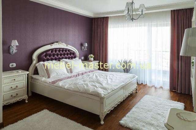 Белая резная кровать с мягким изголовьем Флора, Симекс