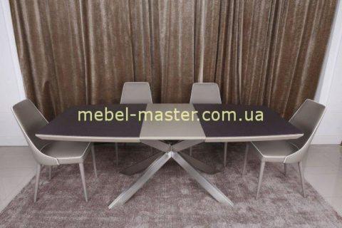Оригинальный стол обеденный раскладной со стеклокерамической столешницей Портленд, Николас