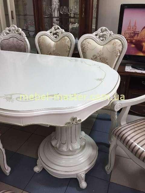 Белый стол на двух массивных ногах Р 96