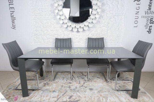 Прямой недорогой большой раскладной стол Бристоль. Цвет графит.