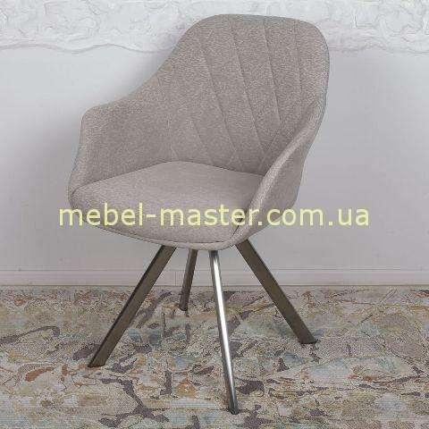 Серый мягкий поворотный стул Альмера, Николас. Отделка большой ромб.