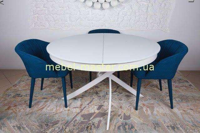 Круглый белый раскладной стол в стиле модерн Кембридж, Николас