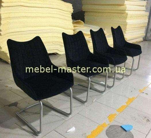 Черный тканевый мягкий стул Корона, Николас