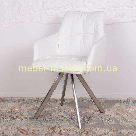 Белое стильное кресло из эко кожи Леон, Николас