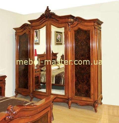 Классический шкаф с зеркалами на четыре двери для спальни Поэзис