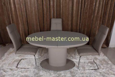 Круглый обеденный стол со стеклянной столешницей Орландо, цвет мокко.