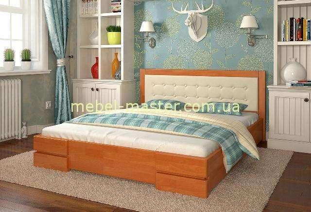 Деревянная кровать с мягким изголовьем Регина, Арбор