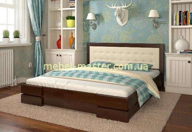 Деревянная кровать с мягким изголовьем и подъемным механизмом Регина, Арбор