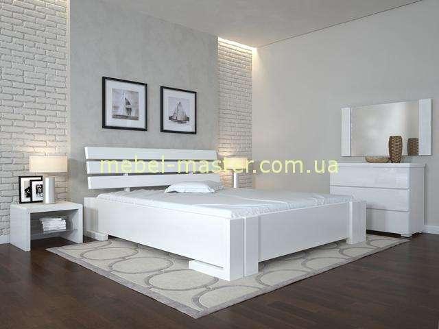 Белая деревянная кровать Домино с высоким механизмом, Украина