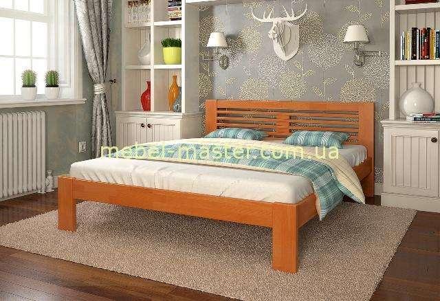 Кровать с прямым изголовьем из дерева Шопен, Мадера