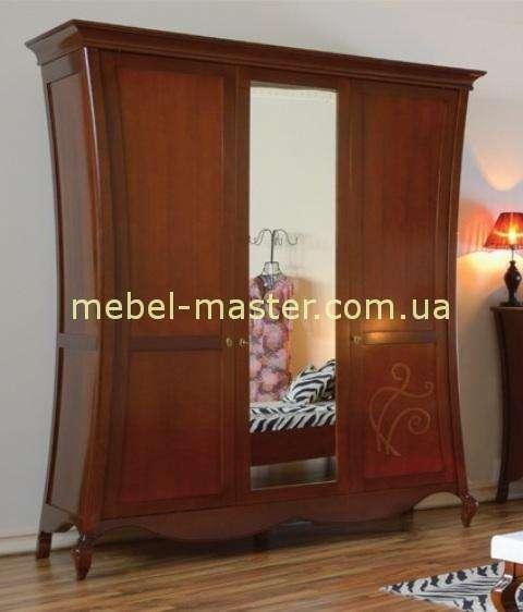 Трехдверный шкаф с зеркалом в цвете орех Капри.