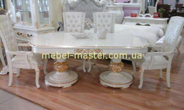 Овальный белый стол с золотом Эрмитаж, Джосс