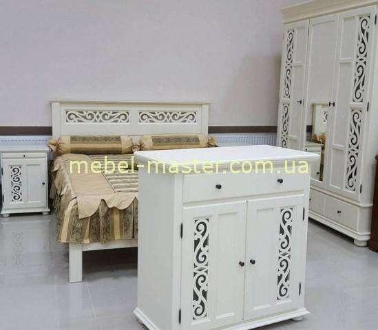 Белый резной шкаф Арабеска на три двери, Мобекс, Румыния