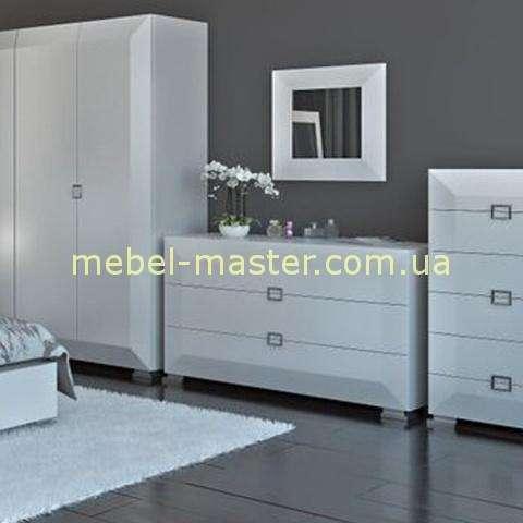 Комоды белые глянцевые для спальни Карат Вайт, Аквародос