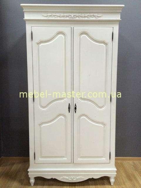 Белый двухдверный шкаф Лаванда, Румыния, Мобекс с эффектом старины