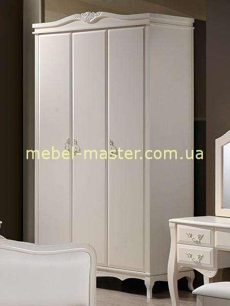 Белый трехдверный шкаф для спальни Богемия, Домини