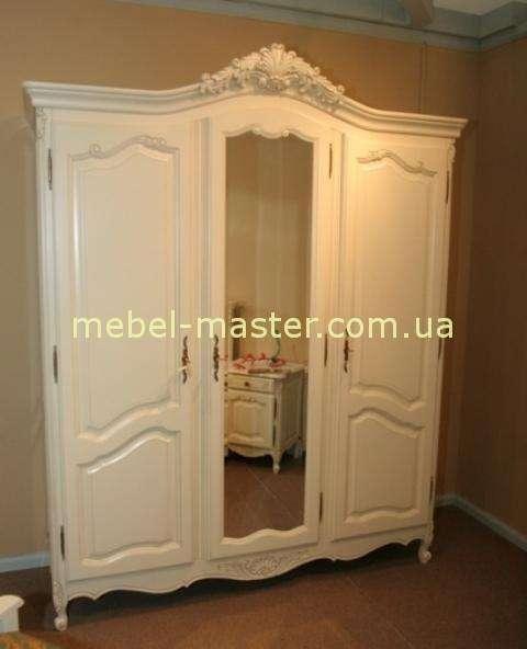 Деревянный белый резной шкаф Могадор, Мобекс, Румыния