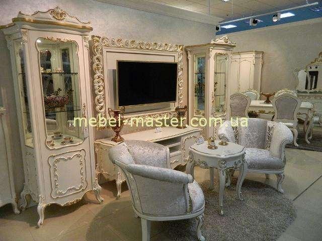 Белый комплект мебели с ТВ тумбой Людовик, Энигма