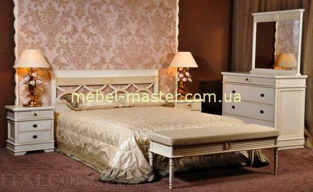 Белая кровать с прямфм резным изголовьем Валенсия, Италконцепт