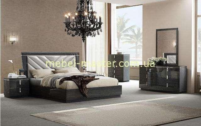Недорогой мебельный гарнитур для спальни Аликанте из глянцевого МДФ
