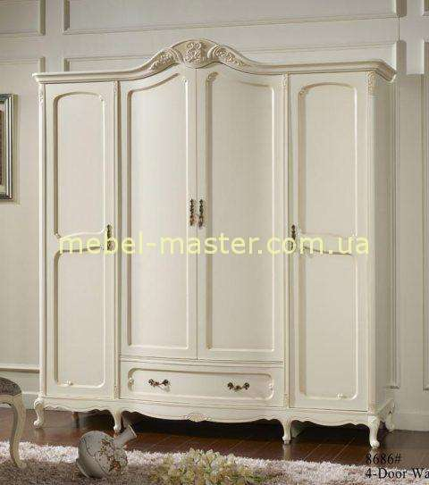 Белый шкаф на четыре двери в спальню Эпока 8686, Аккорд