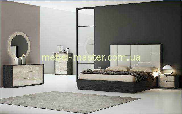 Коллекция глянцевой мебели для спальни Мерида в цвете серый глянец.