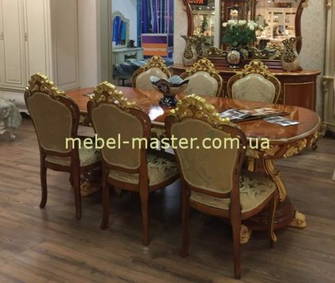 Большой обеденный стол Матильда в цвете орех с золотом.