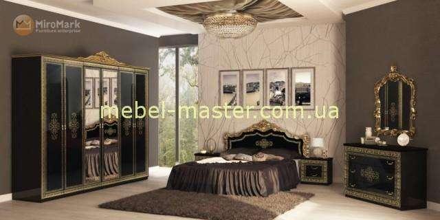 Черная глянцевая кровать с золотой патиной Дженифер, Миро Марк
