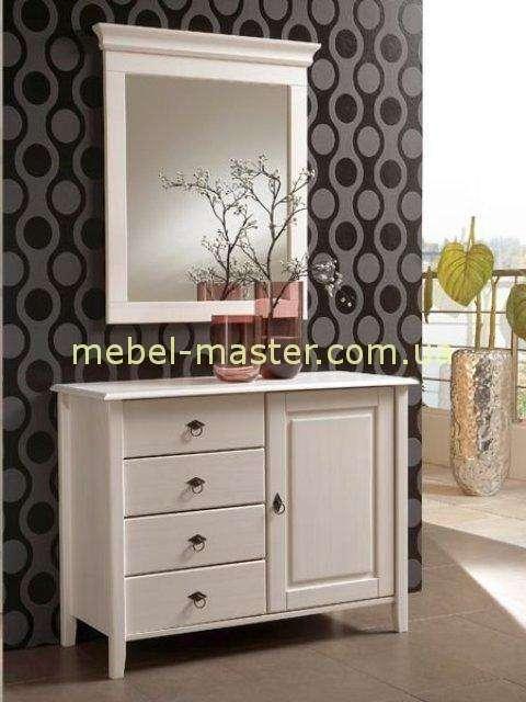 Белый деревянный комод с зеркалом для спальни Боцен, Домини