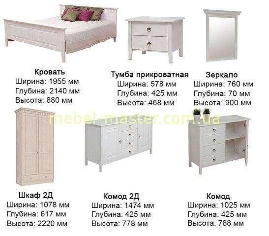 Размеры мебели для спальни Боцен, Белорусь, Домини
