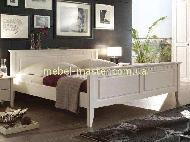 Белая кровать из массива натурального дерева Боцен, Беларусь