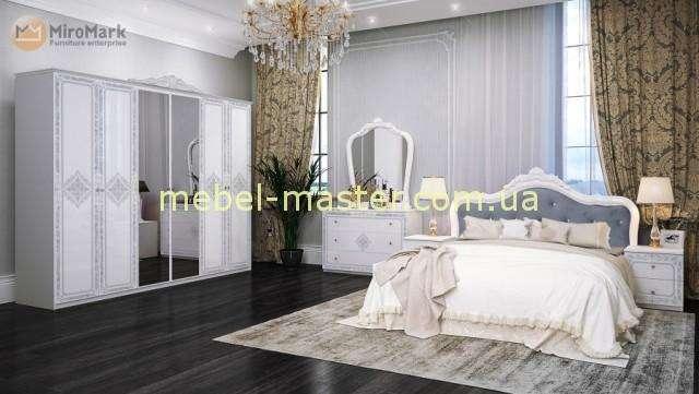 Классическая белая глянцевая кровать с мягким изголовьем Луиза, Миромарк