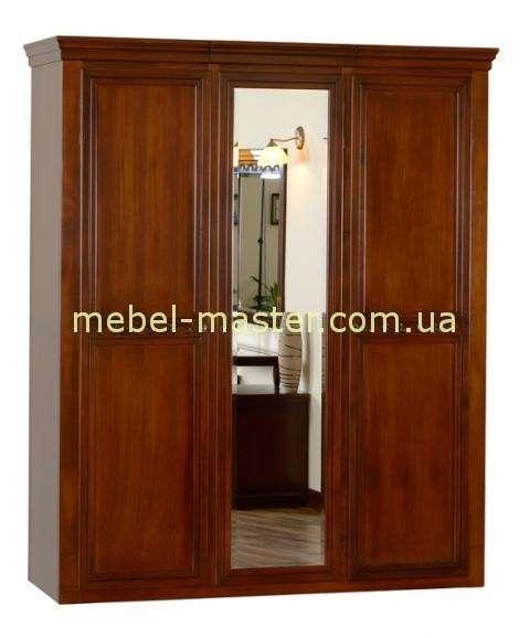 Прямой ореховый шкаф с зеркалом в спальню Анастасия, Румыния