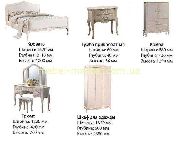 Размеры мебели для спальни Богемия, Домини