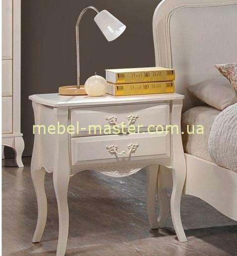 Белая тумбочка прикроватная Богемия, Домини